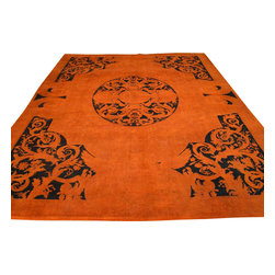 Savonnerie Orange Cast Overdyed European 9'x12' Hand Knotted Rug Sh17674 - The art of hand knotted rug making was introduced in Europe, through Spain during the ruling period of Muslim moors, in the thirteenth century. In ancient times, European rugs had the strong influence from oriental designs, Turkish motifs and patterns.