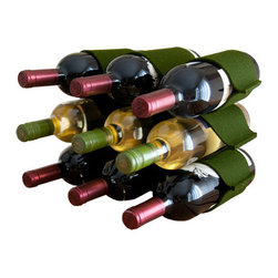 The Felt Store - Felt Wine Rack - 9 Bottles - Olive - This stylish designer felt wine rack is made of the highest quality 100% wool and is easily stored when flat or upright. Holds 9 wine bottles, and will add natural style to any home or office.