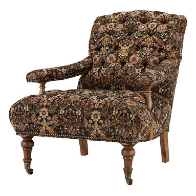 Banks Chair - Inspired by a British parlor, our Banks collection offers comfortable seating with a vintage flair. Exquisite tufting is finished with nailheads around the wide, paddle-shaped arms and base. Antique brass cup castors add charm and movement making Banks ideal for receiving guests and relaxing in your sitting room.