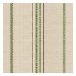 Green Feedsack-Style Cotton Stripe Fabric - Classic green & tan feedsack style stripe made in super soft woven cotton.  Bye bye scratchy burlap!Recover your chair. Upholster a wall. Create a framed piece of art. Sew your own home accent. Whatever your decorating project, Loom's gorgeous, designer fabrics by the yard are up to the challenge!