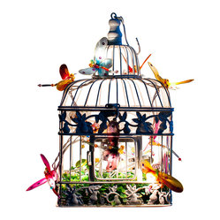 The Firefly Garden - Dragonfly Garden - A colorful decoration for a child's room, Dragonfly Garden features the soft light of illuminated dragonflies as they dance about an antique birdcage. You're sure to win the hearts of the dragonfly lovers in your life with this whimsical gift.