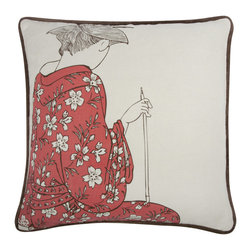 Thomas Paul - Yokohama Geisha Pillow, Persimmon - The Thomas Paul Yokohama Collection is based on Japanese wood block prints depicting scenes from the city of Yokohama Japan in the mid 1800s. At this time, the city was a vibrant port that had many foreign residents from western countries. The Yokohama prints often depicted this combination of eastern and western motifs coming together. This group of pillows combines traditional Japanese patterns with western motifs and patterns.