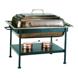 Stainless Steel Chafing Dish - Antique Copper - This Stainless Steel Chafing Dish from Old Dutch International is an excellent chafing dish set for serving buffet style meals at your next family gathering or dinner party. This Old Dutch chafing dish set features elegant hand crafted construction from stainless steel with beautiful antique copper plating and includes the large 8 qt. chafing dish with lid, water pan, twin fuel holders, and a sturdy metal frame with convenient carrying handles.