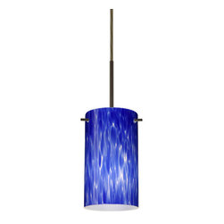 "Besa Lighting - Besa Lighting 1BC-440486-MED Stilo 1 Light Cord-Hung Mini Pendant - Stilo 7 is a classic open-ended cylinder of handcrafted glass, a shape that will stand the test of time. Our Blue Cloud glass is full of floating, splashes of blue tones over white that almost feels like a watercolor painting. This combination of color is crisp and timeless. This decor is created by rolling molten glass in small bits of blue hues called frit. The result is a multi-layered blown glass, where frit color is nestled between an opal inner layer and a clear glossy outer layer. The handcrafted touch of a skilled artisan, utilizing century-old techniques passed down from generation to generation, creates variations in color and design that are to be appreciated. The cord pendant fixture is equipped with a 10' SVT cordset and an ""Easy Install"" dome monopoint canopy.Features:"