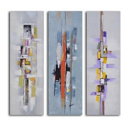"""My Art Outlet - Urban Abstract Triptych Hand Painted Canvas Wall Art - Size: 48"""" x 48"""" (16"""" x 48"""" x 3pc). Enjoy a 100% Hand Painted Wall Art made with oil and acrylic paints on canvas stretched over a 1"""" thick inner wooden frame. The painting is gallery wrapped and ready to hang out of the box. A very stylish addition to any room that is sure to get the attention of guests."""