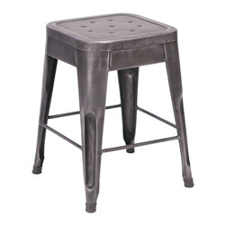 Felix | Tolix Style Table Stool - Metallic Gunmetal - This classic Tolix style cafe stool originally designed by Xavier Pauchard in 1934 has been a staple in French bistros and trendy hotspots throughout the 20th century. The Felix is our spin on the classic Tolix stool. Slight abrasions and variations are characteristic of the chair's industrial aesthetic. Our gunmetal stools or stools labeled as distressed are hand finished and antiqued to create a unique industrial look. Only galvanized finish is suitable for outside use. Available in an array of colors and finishes, mix and match to create a unique setting (some colors are available through special order only). Contact Us for quantity orders.