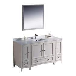 "Fresca - Fresca Oxford 60"" Antique White Vanity w/ 2 Side Cabinets - Dimensions of vanity:  60""W x 20.38""D x 32.63""H. Dimensions of mirror:  31.88""W x 31.88""H. Materials:  Solid wood frame, MDF panels, quartz stone countertop, ceramic undermount sink w/ overflow. Single hole faucet mount. 4 soft close doors. 3 soft close dovetail drawers. Seamless countertop w/ matching backsplash. P-trap, faucet, pop-up drain and installation hardware included. Blending clean lines with classic wood, the Fresca Oxford traditional bathroom vanity is a must-have for modern and traditional bathrooms alike.  The vanity frame itself features solid wood in a stunning antique white finish that's sure to stand out in any bathroom and match all interiors.   Available in many different finishes and configurations."