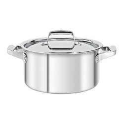 Zwilling - Zwilling TruClad Stainless Steel Stock Pot with Lid - 40166-240 - Shop for Stock Pots & Slow Cookers from Hayneedle.com! Whether it's pasta stock or soups the Zwilling TruClad Stainless Steel Stock Pot with Lid will become an invaluable part of your cooking arsenal. This pot is made of high-quality stainless steel and features stay-cool handles lid and supports all cooking surfaces. It's also oven- and dishwasher-safe.About Zwilling JA Henckels:JA Henckels has been producing the best in German steel knife design since 1895. Their products are designed for everyday use giving you the maximum value for your money. This modern company uses innovative technology to create the highest-quality products. They're so sure you'll be satisfied with their products that they back each one with a lifetime warranty. With several lines of quality cutlery and other products you're sure to find the perfect housewarming or wedding gift or addition to your own kitchen.About Truclad Cookware:Zwilling J.A. Henckels manufacturer and distributor of Truclad Cookware is recognized globally for the highest possible quality and function. TruClad Cookware features technologically advanced SIGMA Clad 3-ply construction that's 3 mm thick. Its three-layer construction ensures quick and even heating not just on the bottom of the pan but up the sides as well. The brightly polished magnetic stainless steel exterior is safe for all types of stovetop burners - gas electric ceramic halogen and induction. The 18/10 stainless steel interior which is the most corrosion-resistant type of stainless steel ages beautifully and won't react to acidic foods. It's even safe for use with all types of utensils including metal.Truclad Cookware has ergonomic stainless steel stay-cool handles that can be used in the oven but be sure to wear oven gloves. This cookware is dishwasher-safe but to enhance the life of it hand-washing is recommended. However do not submerge it in water for an extended period of tim