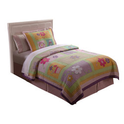 Pem America - Sweet Helen Twin Quilt with Pillow Sham - Bright and trendy flowers in purple and pink dominate this bed.  The face of the quilt is an asymmetric grid of green with individual panes of pastel colors as a base for a large scale flower icon. Hand pieced, this high quality kids bedding will complete and girls room.  The quilted bedding pattern is 100% cotton on the quilts and pillow shams with hand pieced frames for each of the large flowers. Hand crafted quilt set includes 1 twin quilt (68x86 inches) and 1 standard sham (20x26 inches). Face cloth is prewashed 100% natural cotton.  Fill is 94% cotton / 6% other fibers. Hand crafted with embroidery. Machine Washable.