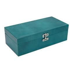 Ethan Allen - Long Turquoise Croc Box - This stylish box is a must-have for its looks alone. But snap open the clutch-style polished nickel clasp, flip back the top, and it's just as useful as it is gorgeous. Our large mock croc box has a removable divided tray and a spacious, open compartment below, all lined in plush, soft velvet. Perfect for jewelry, watches, or any special items. Also available in black (439523).