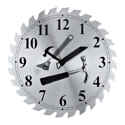 Saw Blade Workshop Clock - This designer Wall Clock impresses with its creative idea and bring a bold and audacious decor accent.