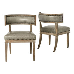 Marco Polo Imports - Vincent Dining Chair - Simple elegance and romance defines the Vincent dining chair. Each chair is hand-made of Oak, crafted with soft curves and detailed carving. The rich, buttery dove grey leather upholstery and nail head finishing adds heirloom quality to each piece.