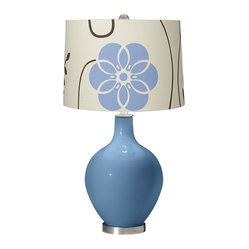 Contemporary Secure Blue Blue Floral Ovo Table Lamp