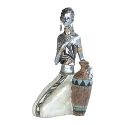 GSC - 7.5 Inch Silver African Lady Figurine - This gorgeous 7.5 Inch Silver African Lady Figurine has the finest details and highest quality you will find anywhere! 7.5 Inch Silver African Lady Figurine is truly remarkable.