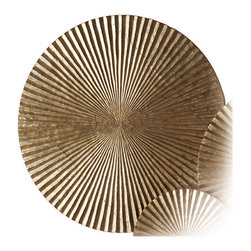 Kathy Kuo Home - Apollo Metallic Silver Modern Wood Circle Wall Art Decor - Large - Looking for a wow inducing piece?  This striking metal and wood plaque certainly creates a lot stir.  Evoking mid century op art and Asian metal gong without effort, this  large plaque delivers a seriously big statement alone or paired with smaller versions.