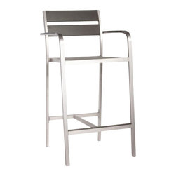 Brushed Aluminum Megapolis Bar stool - Like something you'd find in one of those brutally hip urban wine bars, the Megapolis Bar series is sleekly silver and durable.