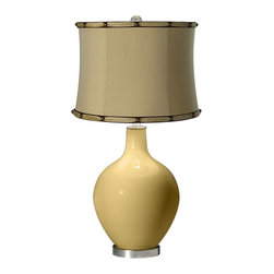 """Color Plus - Contemporary Humble Gold Morell Almond Shade Ovo Table Lamp - Add a blast of designer style with this Color + Plus™ glass table lamp. The design is hand-crafted by experienced artisans in our California workshops with a Humble Gold designer finish. It is topped with a tan almond fabric drum shade with bronze nailhead trim. Brushed steel finish accents balance the look. Humble Gold designer glass table lamp. Tan almond fabric drum shade. Brushed steel finish accents. Maximum 150 watt or equivalent bulb (not included). 28 1/2"""" high. Shade is 14"""" across the top 15"""" across the bottom 11"""" high. Base is 6"""" wide.  Humble Gold designer glass table lamp.  Tan almond fabric drum shade.  Brushed steel finish accents.  Maximum 150 watt or equivalent bulb (not included).  28 1/2"""" high.  Shade is 14"""" across the top 15"""" across the bottom 11"""" high.  Base is 6"""" wide."""