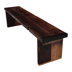 Mt Hood Wood Works - 6 Ft Industrial Bench With Wood Legs - Industrial Bench from rough sawn old growth Douglas Fir with wood legs.
