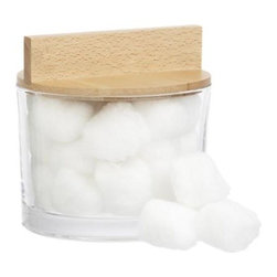 Aberdeen Canister - Clean lined glass jar gets a bold lid of blond wood, styled graphic and easy to grasp. Keeps cotton balls, swabs, and bath salts in clear view.