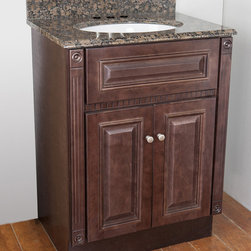 None - Cherry Stained Vanity and Baltic Brown Granite Top - Complete your home with this cherry stained vanity with two doors accented with brushed nickel hardware. This lovely vanity cabinet is adorned with a Baltic brown granite with a white oval sink bowl.