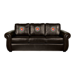 Dreamseat Inc. - US Marines Insignia Chesapeake Brown Leather Sofa - Check out this Awesome Sofa. It's the ultimate in traditional styled home leather furniture, and it's one of the coolest things we've ever seen. This is unbelievably comfortable - once you're in it, you won't want to get up. Features a zip-in-zip-out logo panel embroidered with 70,000 stitches. Converts from a solid color to custom-logo furniture in seconds - perfect for a shared or multi-purpose room. Root for several teams? Simply swap the panels out when the seasons change. This is a true statement piece that is perfect for your Man Cave, Game Room, basement or garage.