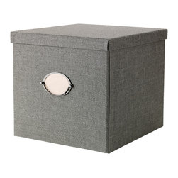 Kvarnvik Box with Lid, Gray - The gray Kvarnvik box fits perfectly in most Ikea shelves and is spacious enough for hiding away everything from towels to toilet paper.