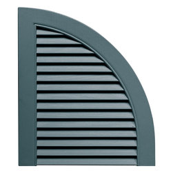 """Builders Edge - Louvered Design Quarter Round Tops in Wedgewo - Actual product color may varied due to lighting conditions. Provides distinctive styling for standard shutters. Constructed with color molded-through vinyl so they will not scratch, flake, or fade. Durable, maintenance-free U.V. stabilized, deep wood grain texture. Made in the USA. For use with Builders Edge 15"""" Standard Louver Shutters only. 14.5 in. W x 1 in. D x 17 in. H (1.69 lbs.)"""