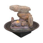 "9"" Multicolor Stone Tabletop Fountain -"