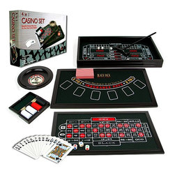 Trademark Global - 4-in-1 Casino Game Table Set - Retail packaging and Playing Instructions included. 4-in-1 set for Roulette, Craps, Texas Hold 'Em, and Black Jack. 4 Dice. 2 Steel balls. 5 Poker dice. 1 Plastic stick. 100 Poker chips (50 White, 25 Red, 25 Black). Roulette Wheel. Dark Green cloth playing surfaces. Deck of playing cards. Product dimensions: 2.5 in. L x 19.13 in. W x 11 in. HThis beautiful stained wood set is ideal for your own casino nights. With four classic casino games included such as Roulette, Craps, Texas Hold 'Em, and Black Jack, this set has all you need.