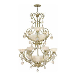 Fredrick Ramond - Fredrick Ramond FR44107SLF Barcelona Traditional Classic Chandelier - Barcelona embodies the essence of classically influenced design with natural alabaster and faceted crystal accents, creating a stunning show piece of elegance and grandeur.