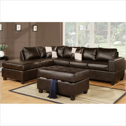 Poundex - Poundex Bobkona Soft-Touch Bonded Leather 3-Piece Sectional in Espresso - Poundex - Sectionals - F7351