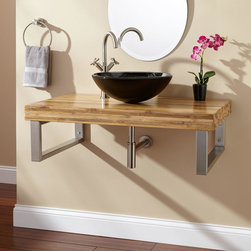 """37"""" Bamboo Wall-Mount Vessel Sink Vanity - Rectangular Brackets - Complete a modern remodel with the 37"""" Bamboo Wall-Mount Vessel Sink Vanity, which takes a minimalist approach to installing a bathroom sink. Made of renewable, eco-friendly material, this slab is supported by rectangular stainless steel brackets."""