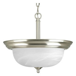 Progress Lighting - Progress Lighting P3927-09 Alabaster 2 Light Bowl Shaped Foyer Pendant in Brushe - Two-Light semi-flush featuring dome shaped glass with solid trim and decorative knobs.Chain and ceiling mounts both included Medium Base BulbADA Compliant: No Bulb Type: Incandescent Collection: Alabaster Energy Efficient: No Energy Star Compliant: No Finish: Brushed Nickel Glass: Smooth Etched Alabaster Height: 11-3 8 Lamp Wattage: 100 Length: 50 Light Direction: Up Lighting Low Voltage: No Number of Lights: 2 Pendant Type: Foyer Shade Material: Glass Shade Shape: Bowl Socket 1 Base: Medium Socket 1 Max Wattage: 100 Style: Contemporary Modern Suggested Room Fit: Entry Foyer Wall Bracket: No Weight: 6 Width: 13-1 4 Wire Length: 72