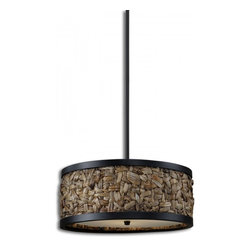 "Uttermost - Calameae 3 Light Natural Rattan Pendant - Woven Natural Rattan With Aged Black Details And A Frosted Glass Diffuser. Dimensions: 52.75""H X 20"" Diameter; Lights: 3; Finish: Aged Black Details; Bulbs: Uses Up To 60 Watt Bulbs (Not Included); Light Covers: Woven Natural Rattan and a Frosted Glass Diffuser; Weight: 16 lbs; UL Approved"