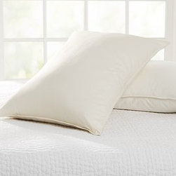 Natural Pillow, King - A great alternative to down, recycled micro-polyester - derived exclusively from plastic bottles - creates an ultrasoft fill for our pillow.Recycled micro-polyester fill.300-thread-count undyed organic-cotton cover.Made of eco-friendly, organic materials that offer incredible comfort.Machine wash.Watch a video with {{link path='/stylehouse/videos/videos/dt_v2_rel.html?cm_sp=Video_PIP-_-DESIGN_TIPS-_-GREEN_LIVING_TIPS' class='popup' width='950' height='300'}}simple tips for green living every day{{/link}}.Made in the USA of imported materials.