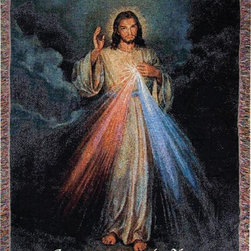 Manual - The Divine Mercy Christian Tapestry Blanket 50 Inch x 60 Inch Jesus - This multicolored woven tapestry throw blanket is a wonderful addition to any home. Made of cotton, the blanket measures 50 inches wide, 60 inches long, and has approximately 1 1/2 inches of fringe around the border. The blanket features a depiction of Jesus, with love and mercy flowing from his heart, with the words 'Jesus, I trust in you' printed along the bottom. Care instructions are to machine wash in cold water on a delicate cycle, tumble dry on low heat, wash with dark colors separately, and do not bleach. This comfy blanket makes a great gift for friends and family.