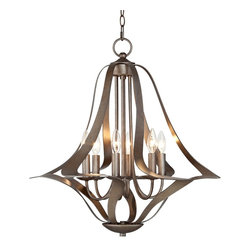 """Possini Euro Design - Possini Euro 6-Light Corinthian Bronze Bell Chandelier - Slender bands of Corinthian bronze finish metal make up the framework of this fantastic 6-light chandelier. The curved frame holds six shadeless candle lights in a central display. A chain and canopy in Corinthian bronze finish complete this fantastic design for your contemporary or transitional style home. Metal construction. Corinthian bronze finish. Takes six 60 watt bulbs (not included). 26"""" wide. 25 1/2"""" high. Includes 6 feet of chain and 12 feet of wire. Canopy is 5"""" wide.  Bell chandelier design.  Corinthian bronze finish.   Metal chandelier frame construction.     From the Possini Euro Design lighting collection.  Takes six 60 watt bulbs (not included).   25 1/2"""" high.   26"""" wide.   Includes 6 feet of chain and 12 feet of wire.   Canopy is 5"""" wide."""