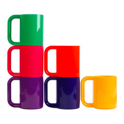 Modern Colorful Mugs - Set of 6 - This beautiful piece stacks together seamlessly with both its new and vintage counterparts.