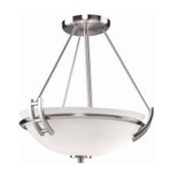 ArtCraft - ArtCraft-AC4333PN-Andover - Two Light Semi-Flush Mount - The Andover Collection features an electroplated Polished Nickel finish with an opal glass dome. A stunning Semi Flush design.