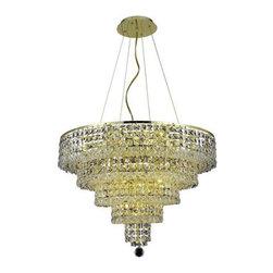 Elegant Lighting - Elegant Lighting 2037D26G/EC Maxim 14 Light Chandeliers in Gold - 2037 Maxim Collection Hanging Fixture D26in H20in Lt:14 Gold Finish (Elegant Cut Crystals)
