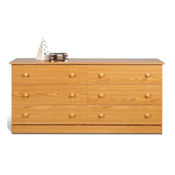 Prepac - 6-Drawer Dresser in Oak Finish - Includes a tipping restraint bracket. Chrome plastic knobs. Removable drawers run smoothly on nylon glides with built-in safety stops. Sides, top, drawer fronts and kickers made from 0.63 in. thick laminated composite board. MDF drawer components and backer. Warranty: Five years. Made in North America. Drawer: 26 in. W x 4 in. H x 12.5 in. D. Overall: 58.5 in. W x 16 in. D x 28.25 in. HThe Edenvale six drawer dresser is one functional piece that wont overwhelm your bedrooms decor. Full-sized drawers will have your clothing organized in a jiffy and reorganized just as quick thanks to their easy removal. Clean lines and a minimalist design mean this dresser will look great with any mirror, jewelry or accessories you choose to store on top. Dressed up or down, this dressers a safe and budget-friendly bet for any bedroom.