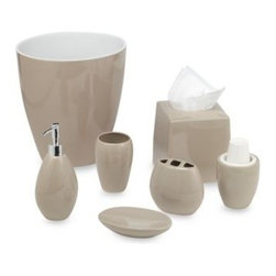Wamsutta - Wamsutta Elements Linen Waste Basket - The Elements bath ensemble pieces have sleek, simple lines and contemporary curves to add a modern look and feel to your decor. The soap dish, tumbler, toothbrush holder, lotion dispenser and cup dispenser are ceramic.