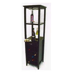 Proman - Proman Galina Wine Rack Tower with Glass Holder - Galina wine rack tower with glass holder,18 wine cells, matte black finish. Sleek & Compact design makes sure to compliment any room. Pull out drawer for storing bottle openers and other accessories. Stores 18 wine bottles.