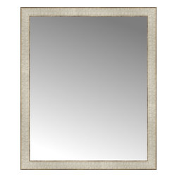 """Posters 2 Prints, LLC - 26"""" x 31"""" Libretto Antique Silver Custom Framed Mirror - 26"""" x 31"""" Custom Framed Mirror made by Posters 2 Prints. Standard glass with unrivaled selection of crafted mirror frames.  Protected with category II safety backing to keep glass fragments together should the mirror be accidentally broken.  Safe arrival guaranteed.  Made in the United States of America"""