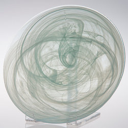 Round Alabaster Buffet Plate - You'll find yourself endlessly fascinated by the frozen swirls that travel through the glass of the Round Alabaster Buffet Plate.  This translucent glass dish creates a fresh, engaging transitional look by adapting an unusual and intriguing pattern to a shape that's simplicity itself.  Suave yet arresting personality in cool, reserved tones makes display and serving an exercise in artwork.