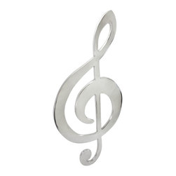 Zeckos - Large Polished Aluminum Treble Clef Wall Art 35 In. - This polished aluminum wall hanging is in the shape of a huge treble clef, and is a wonderful addition to the home of music lovers. It measures 35 inches tall, 16 inches wide, 1/2 inch thick and easily mounts to the wall with a single nail or screw. Its smooth, reflective surface makes this piece a great decorative item for clubs, and is sure to catch your eye.