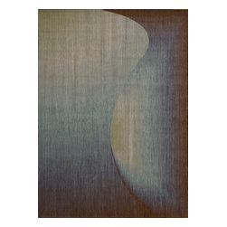 """Nourison - Nourison Radiant Arts 1 Sapphire Area Rug, 2'3""""x4' - An interlocking swerve and curve pattern in striking sapphire with brown undertones plays on light, shadow and perspective to create a daring abstract design in the third dimension. This thrilling contemporary rug adds an exciting element of intrigue to any area. What's included: Rug (1)."""