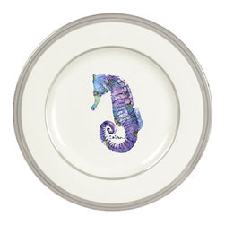 Caroline's Treasures - Seahorse Ceramic Dinner Plate Round Platinum Rim - Heavy Round Ceramic Plate with Platinum Rim 10 1/2  inches.  LEAD FREE and diswasher safe.  The plate has been refired over 1600 degrees and the artwork will not fade or crack. Made by Caroline's Treasure in Mobile, AL