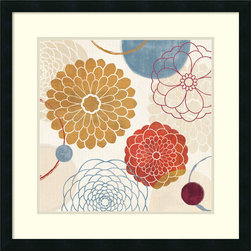 Amanti Art - Abstract Bouquet II Framed Print by Veronique Charron - In this striking abstract art print, Veronique Charron skillfully marries contrasts; dark hues with light and nature inspired imagery with geometric shapes.
