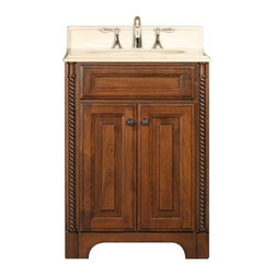 "Water Creation Inc. - Spain Collection 24"" Wide Single Sink Vanity - The Water Creation Spain Collection 24"" single sink bathroom vanity is perfect for the bathroom project that demands a striking focal point. This Golden Straw finished vanity features 2 doors and a Sahara Beige Marble counter top with backsplash. The counter top is pre-drilled for 8"" wide spread lavatory faucets."